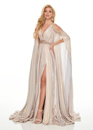 Rachel Allan 8437 prom dress images.  Rachel Allan 8437 is available in these colors: Blush Light Gold, Gunmetal.
