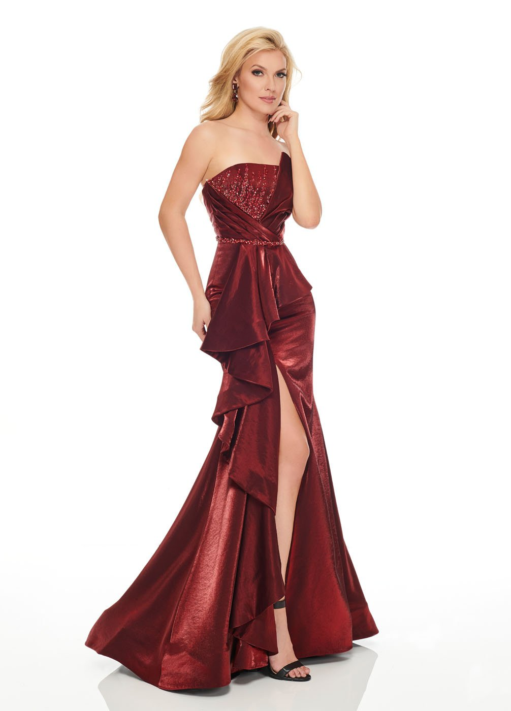 Rachel Allan 8438 prom dress images.  Rachel Allan 8438 is available in these colors: Burgundy, Peacock.