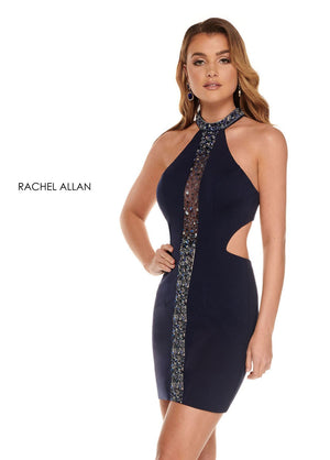 Rachel Allan 30000 prom dress images.  Rachel Allan 30000 is available in these colors: Navy Rose Gold Silver,Off White Gold.