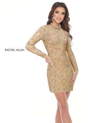 Rachel Allan 30004 prom dress images.  Rachel Allan 30004 is available in these colors: Lilac Multi,Nude Multi.