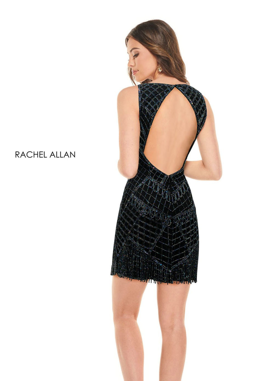 Rachel Allan 30016 prom dress images.  Rachel Allan 30016 is available in these colors: Black Iridescent,Royal Iridescent.