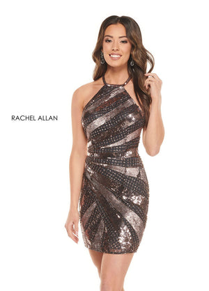 Rachel Allan 30037 prom dress images.  Rachel Allan 30037 is available in these colors: Gunmetal Amethyst, White Silver.