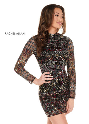 Rachel Allan 40010 prom dress images.  Rachel Allan 40010 is available in these colors: Black Multi,Hunter Green Multi.