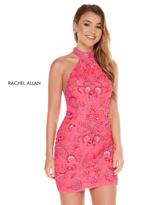 Rachel Allan 40022 prom dress images.  Rachel Allan 40022 is available in these colors: Neon Pink Coral, Neon Green, Neon Orange, Neon Yellow.