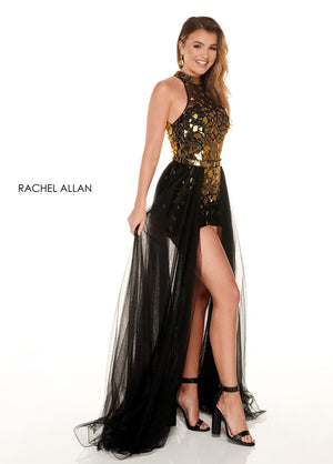 Rachel Allan 40031 prom dress images.  Rachel Allan 40031 is available in these colors: Violet,Black Gold.