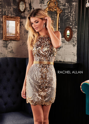 Rachel Allan 4004 prom dress images.  Rachel Allan 4004 is available in these colors: Black Gold,Silver Gold.
