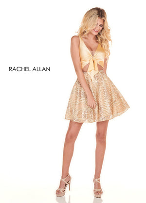 Rachel Allan 4005 prom dress images.  Rachel Allan 4005 is available in these colors: Black Gold,Gold.