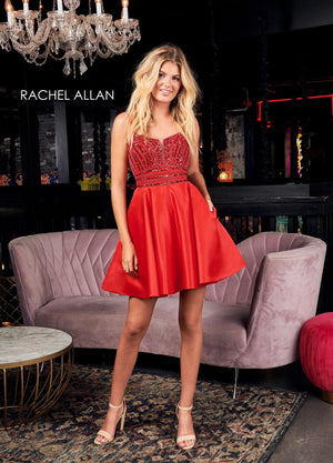 Rachel Allan 4013 prom dress images.  Rachel Allan 4013 is available in these colors: Red,Royal,Hunter Green.