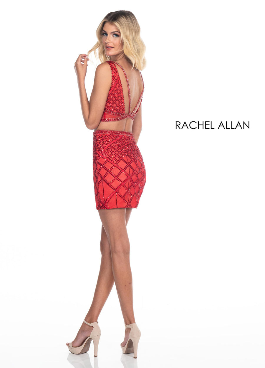 Rachel Allan 4015 prom dress images.  Rachel Allan 4015 is available in these colors: Red,Black.