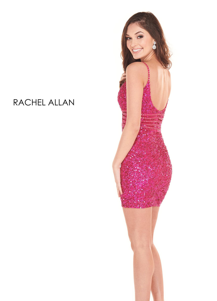 Rachel Allan 4024 prom dress images.  Rachel Allan 4024 is available in these colors: Magenta,Royal,Gold,Silver,Emerald.