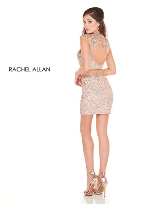 Rachel Allan 4041 prom dress images.  Rachel Allan 4041 is available in these colors: Navy Silver,Blush Rose Gold.