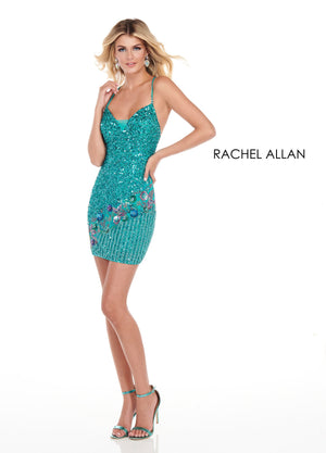Rachel Allan 4057 prom dress images.  Rachel Allan 4057 is available in these colors: Black Multi,Turquoise Multi.
