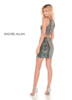 Rachel Allan 4059 prom dress images.  Rachel Allan 4059 is available in these colors: Red,Hunter Green Silver.