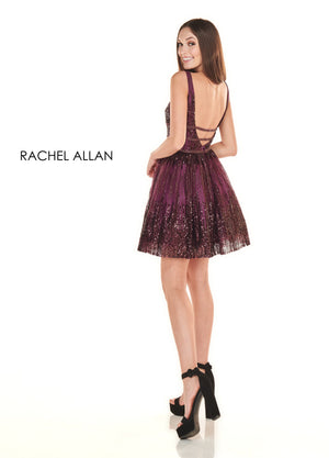 Rachel Allan 4108 prom dress images.  Rachel Allan 4108 is available in these colors: Gunmetal,Black Cherry.