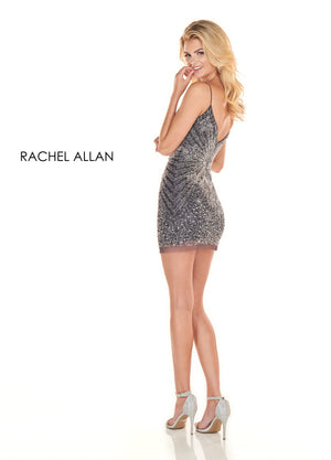 Rachel Allan 4110 prom dress images.  Rachel Allan 4110 is available in these colors: Gunmetal Silver,Black Cherry Silver.