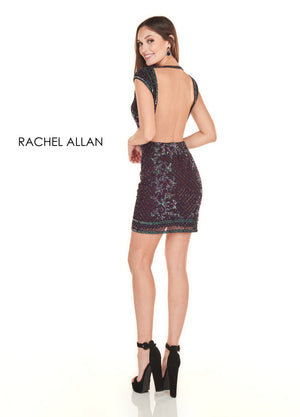 Rachel Allan 4133 prom dress images.  Rachel Allan 4133 is available in these colors: Nude Silver,Black Cherry Iridescent.