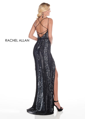 Rachel Allan 4138 prom dress images.  Rachel Allan 4138 is available in these colors: Nude Silver,Black Gunmetal.