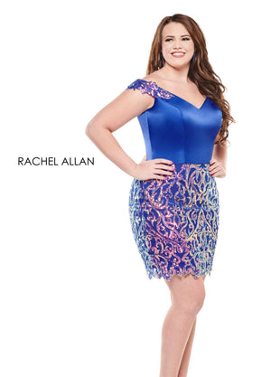 Rachel Allan 4826 prom dress images.  Rachel Allan 4826 is available in these colors: Iridescent Jade,Iridescent Royal.