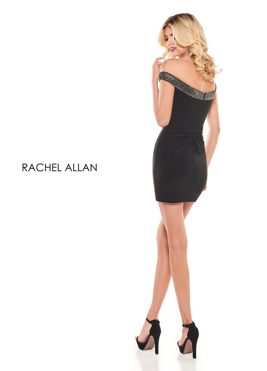 Rachel Allan L1244 prom dress images.  Rachel Allan L1244 is available in these colors: Black Gunmetal,White.