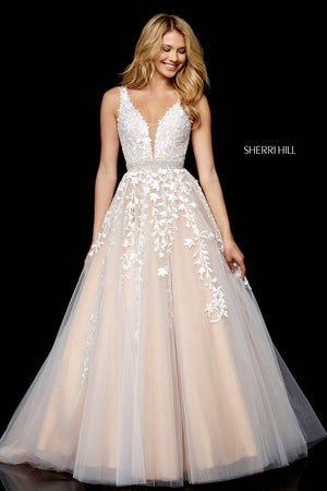 Sherri Hill 11335 prom dress images.  Sherri Hill 11335 is available in these colors: Ivory Nude, Black Nude, Blush, Light Blue, Red, Gold.
