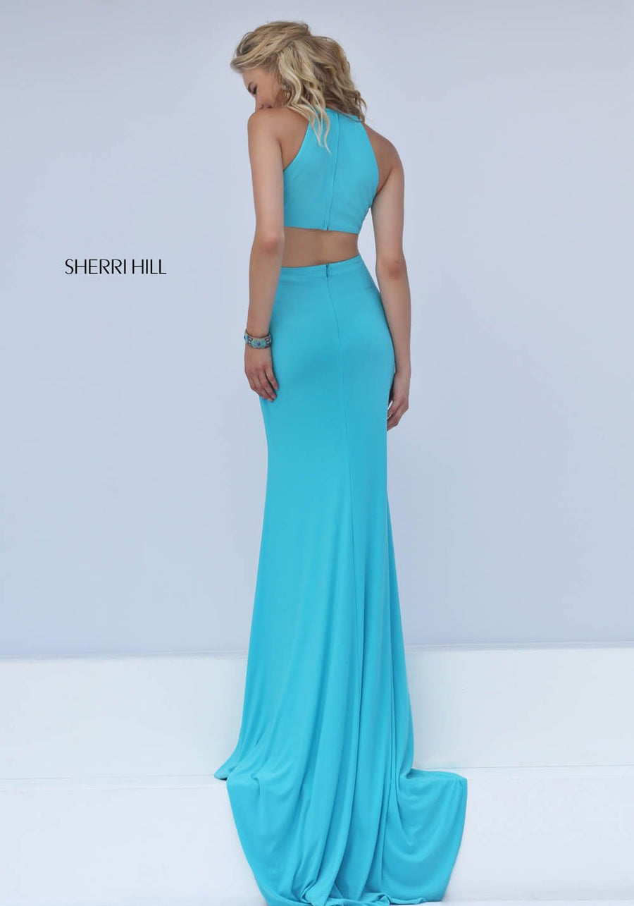 Sherri Hill 32340 prom dress images.  Sherri Hill 32340 is available in these colors: Coral, Black, Navy, Red, Turquoise, Fuchsia, Ivory, Teal, Wine.