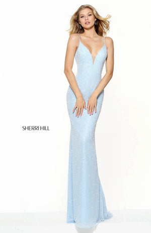 Sherri Hill 50860 prom dress images.  Sherri Hill 50860 is available in these colors: Blush, Red, Black, Ivory, Light Blue, Nude Silver, Gold, Navy, Gunmetal, Silver, Plum.