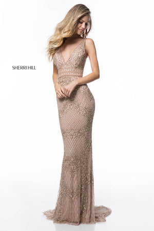 Sherri Hill 51475 prom dress images.  Sherri Hill 51475 is available in these colors: Navy, Nude, Ivory.