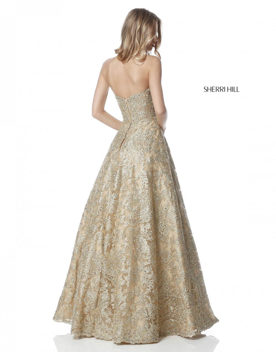 Sherri Hill 51572 prom dress images.  Sherri Hill 51572 is available in these colors: Gold, Silver, Light Blue, Black, Ivory.