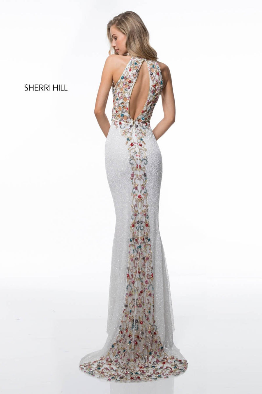 Sherri Hill 51739 prom dress images.  Sherri Hill 51739 is available in these colors: Black Mulighti, Ivory Mulighti.
