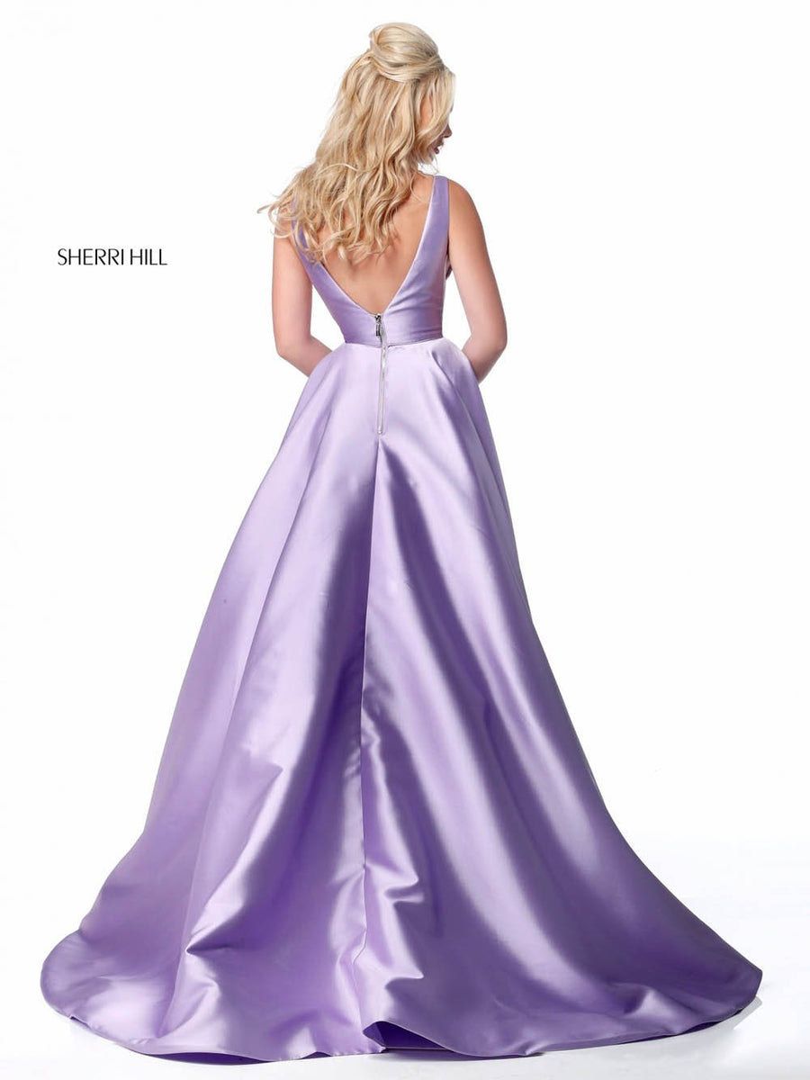 Sherri Hill 51856 prom dress images.  Sherri Hill 51856 is available in these colors: Emerald, Light Blue, Red, Black, Ivory, Pink, Lilac, Yellow, Royal.