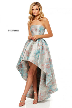 Sherri Hill 52143 prom dress images.  Sherri Hill 52143 is available in these colors: Aqua Blush, Green Aqua.