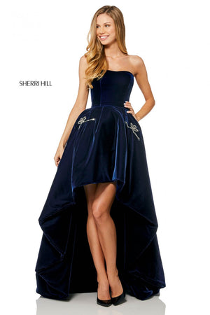 Sherri Hill 52144 prom dress images.  Sherri Hill 52144 is available in these colors: Black, Navy.