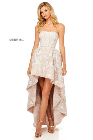 Sherri Hill 52158 prom dress images.  Sherri Hill 52158 is available in these colors: Ivory Nude.
