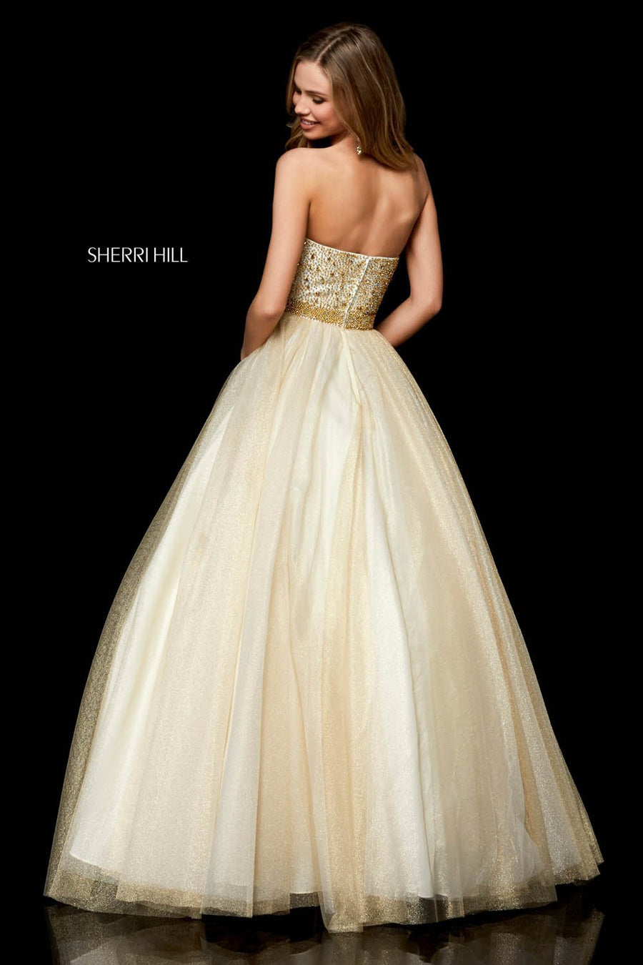 Sherri Hill 52264 prom dress images.  Sherri Hill 52264 is available in these colors: Ivory Gold.