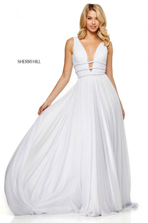 Sherri Hill 52274 prom dress images.  Sherri Hill 52274 is available in these colors: Ivory.