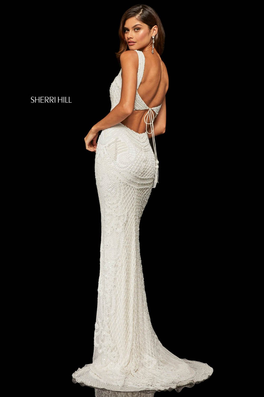 Sherri Hill 52309 prom dress images.  Sherri Hill 52309 is available in these colors: Ivory, Light Blue, Coral, Black.