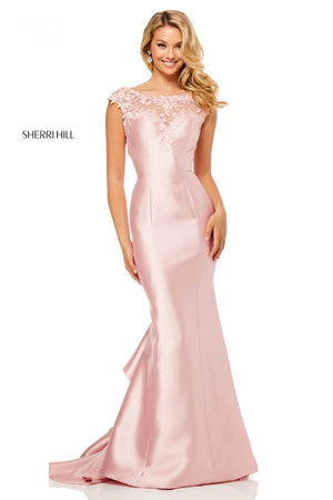 Sherri Hill 52479 prom dress images.  Sherri Hill 52479 is available in these colors: Light Blue, Blush, Yellow, Ivory.