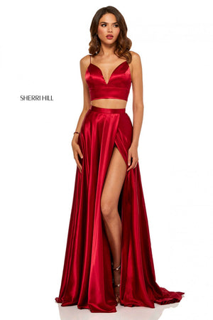 Sherri Hill 52488 prom dress images.  Sherri Hill 52488 is available in these colors: Turquoise, Ruby, Royal, Red, Black, Yellow, Mocha, Rose, Emerald.