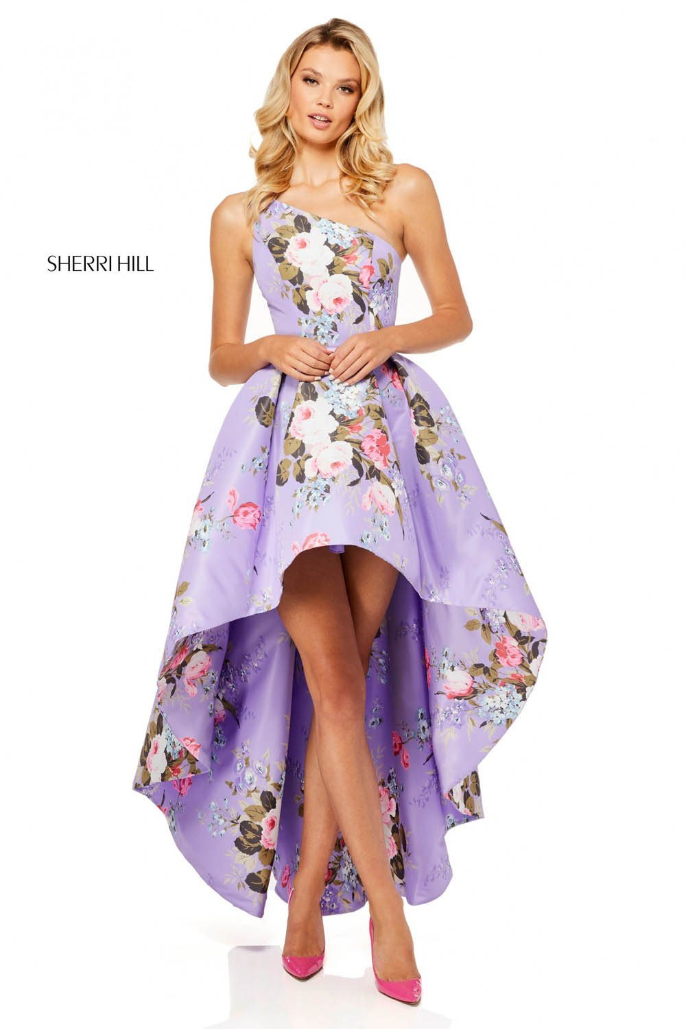 Sherri Hill 52489 prom dress images.  Sherri Hill 52489 is available in these colors: Light Blue Print, Yellow Print, Ivory Print, Lilac Print, Light Yellow Print.