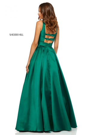 Sherri Hill 52502 prom dress images.  Sherri Hill 52502 is available in these colors: Yellow, Red, Emerald, Ivory, Black, Lilac, Blush, Coral, Pink.