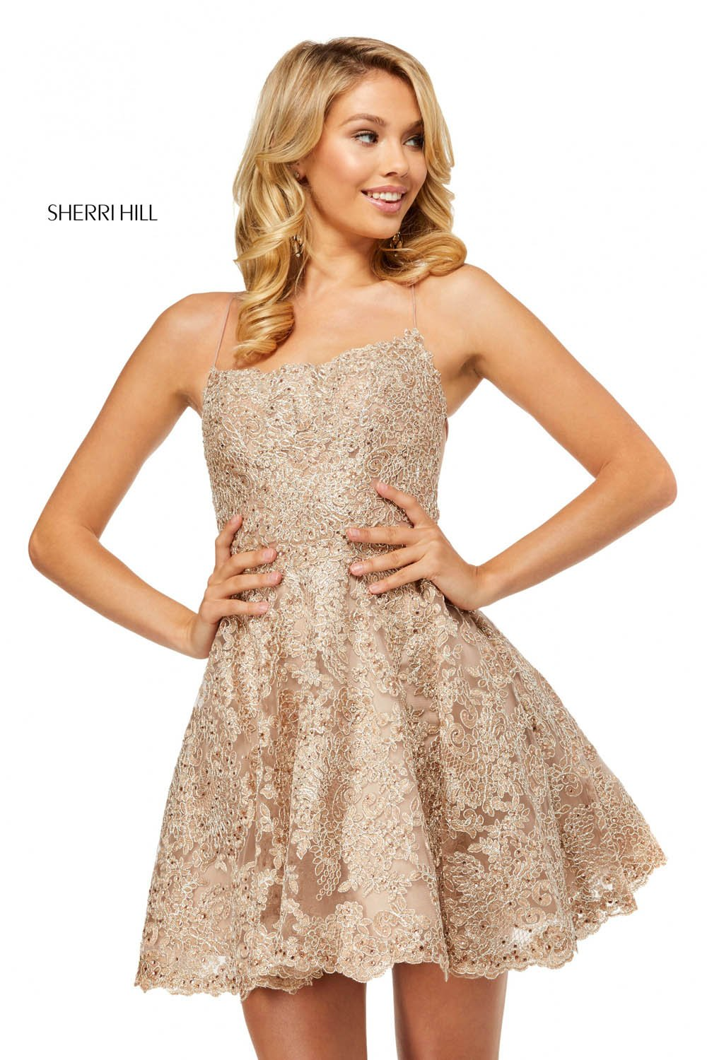 Sherri Hill 52512 prom dress images.  Sherri Hill 52512 is available in these colors: Rose Gold Silver, Gold, Ivory, Silver, Blue.