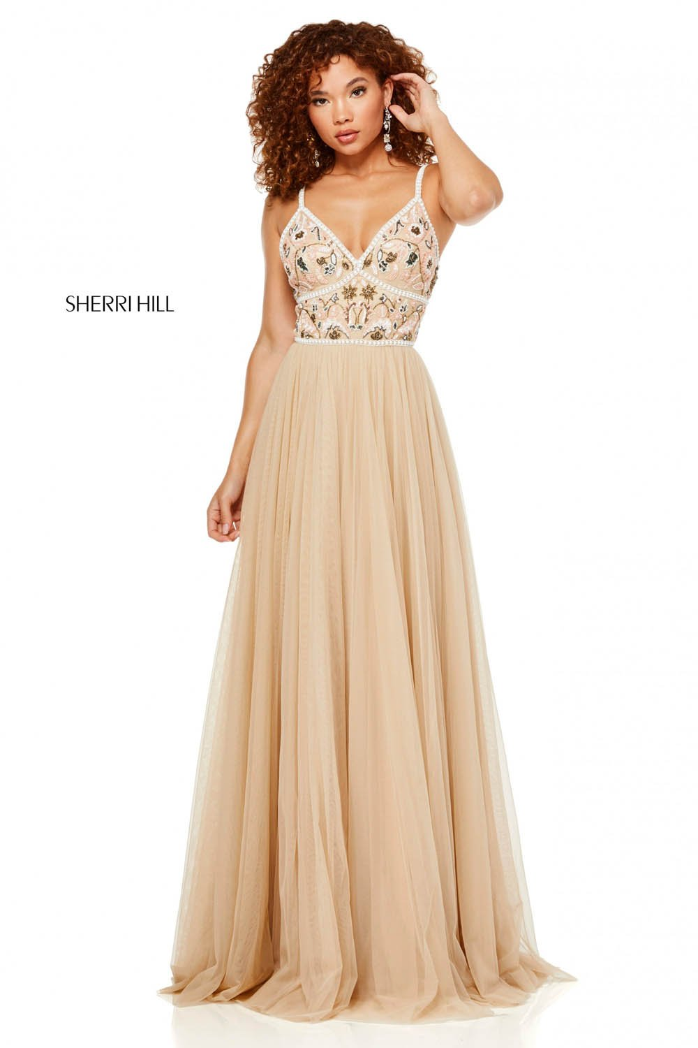 Sherri Hill 52523 prom dress images.  Sherri Hill 52523 is available in these colors: Nude Mulighti.