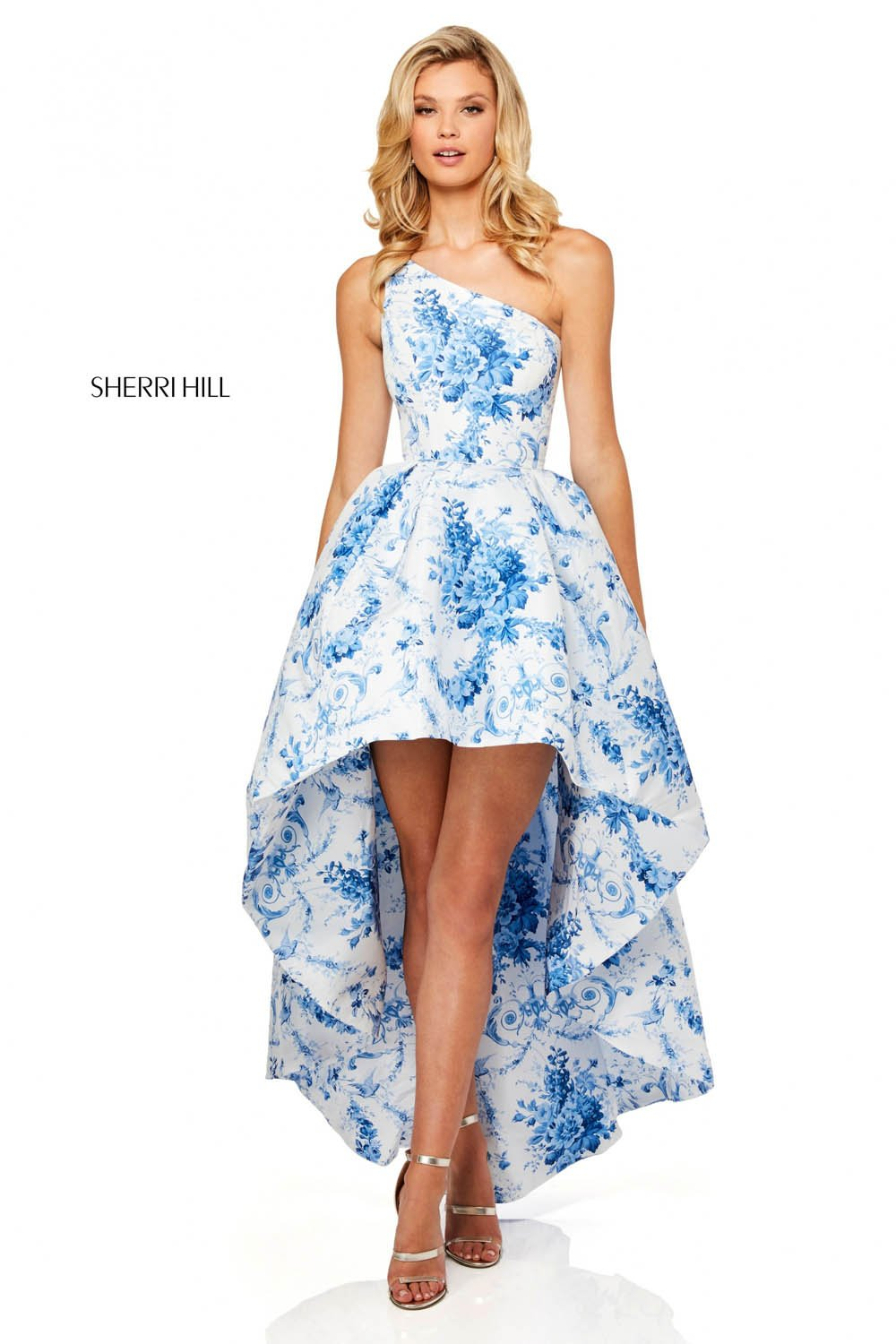 Sherri Hill 52530 prom dress images.  Sherri Hill 52530 is available in these colors: Ivory Blue Print.