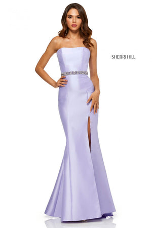 Sherri Hill 52541 prom dress images.  Sherri Hill 52541 is available in these colors: Blush, Yellow, Light Blue, Lilac, Turquoise, Red, Mocha, Coral.
