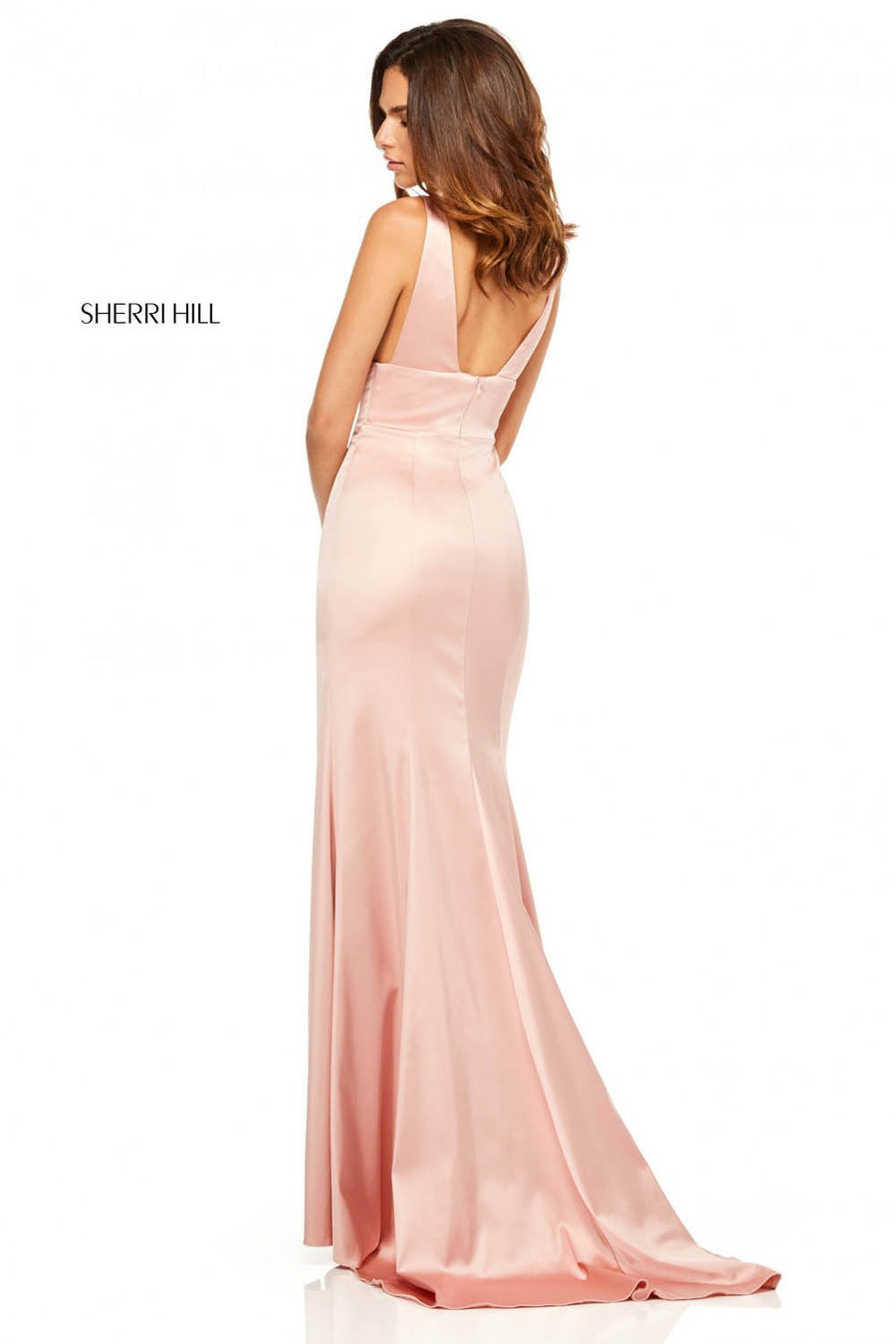 Sherri Hill 52549 prom dress images.  Sherri Hill 52549 is available in these colors: Emerald, Navy, Blush, Teal, Mocha, Royal, Ruby, Red, Black.
