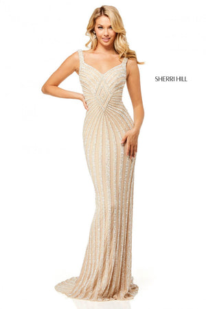 Sherri Hill 52563 prom dress images.  Sherri Hill 52563 is available in these colors: Nude Silver, Burgundy, Navy, Black, Nude Gold, Ivory.