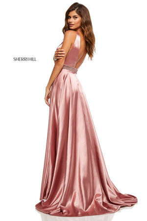 Sherri Hill 52564 prom dress images.  Sherri Hill 52564 is available in these colors: Red, Emerald, Mocha, Peacock, Magenta, Yellow, Royal, Teal, Orange, Rose, Turquoise, Wine, Aqua, Lilac, Black, Navy.