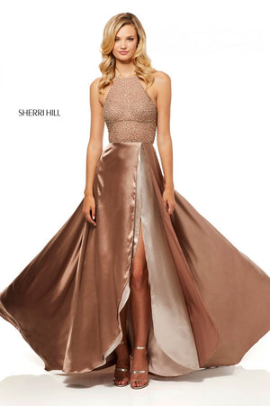 Sherri Hill 52570 prom dress images.  Sherri Hill 52570 is available in these colors: Mocha, Turquoise, Red.