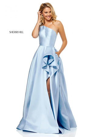 Sherri Hill 52577 prom dress images.  Sherri Hill 52577 is available in these colors: Light Blue, Lilac, Red, Navy, Yellow.