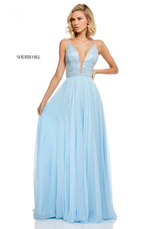 Sherri Hill 52589 prom dress images.  Sherri Hill 52589 is available in these colors: Nude, Coral, Light Blue, Blush, Black, Yellow, Periwinkle, Light Green, Red.